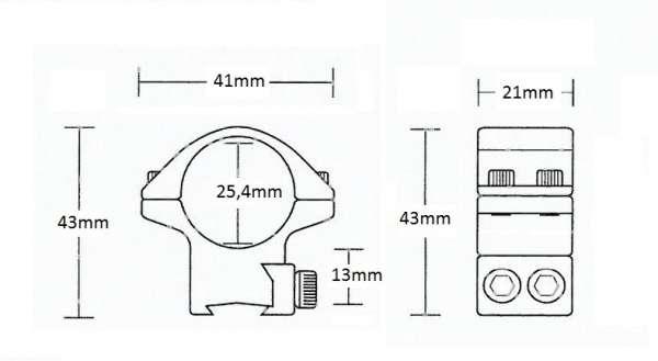 "Matchmount 9-11mm /2pc double screw/ 1"" Medium"