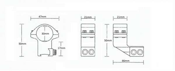 """9-11mm Reach Forward 1"""" /2pc/ 30mm High"""