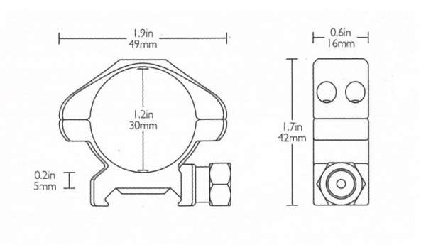 Precision Steel Ring Mounts Weaver (2pcs /30mm Low, With Nut)