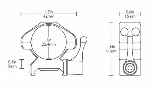 "Precision Steel Ring Mounts Weaver (2pcs /1"" Medium, With Lever)"