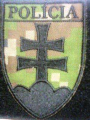 Nášivka na suchý zips Policia SR znak, maskáč 9,5